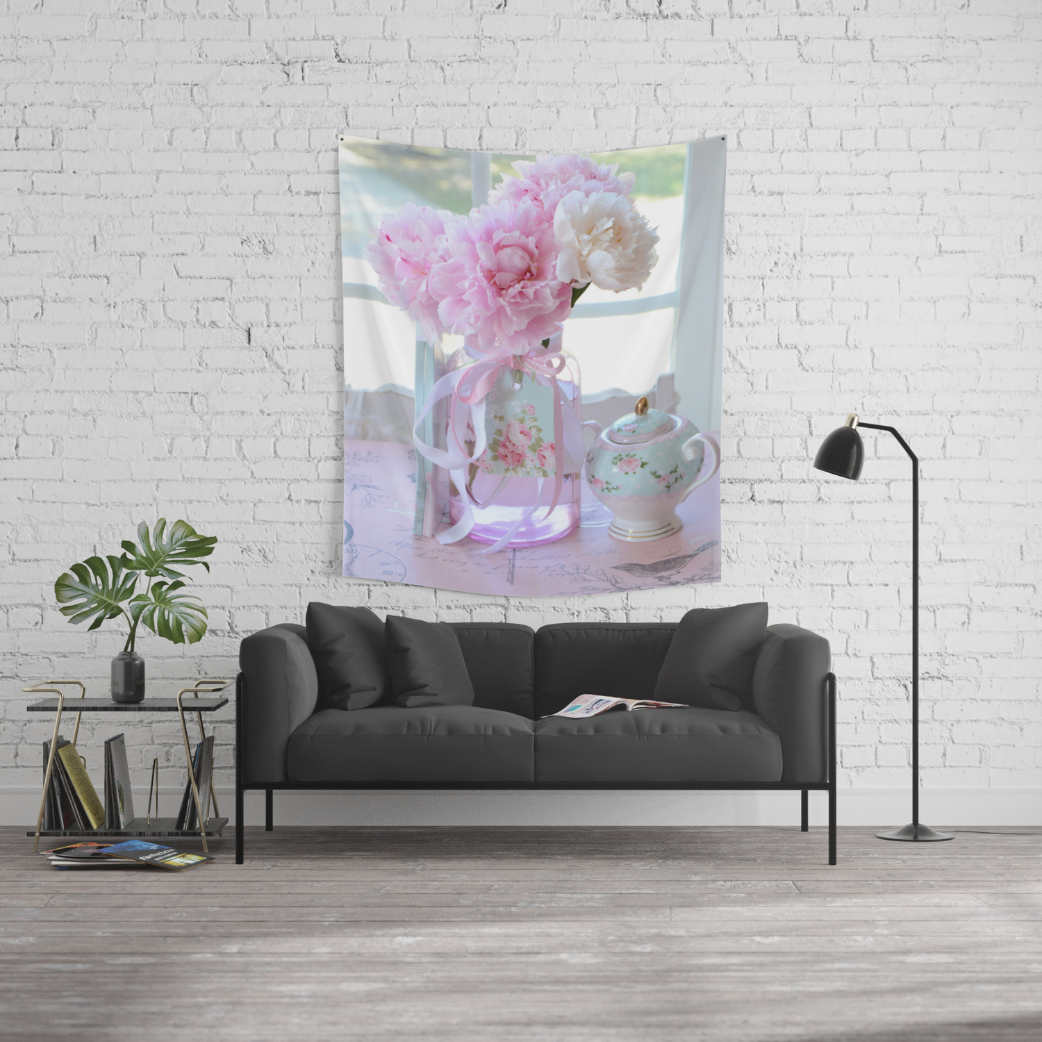 Shabby Chic Romantic Pink Peonies Aqua Pink Floral Decor Wall Tapestry
