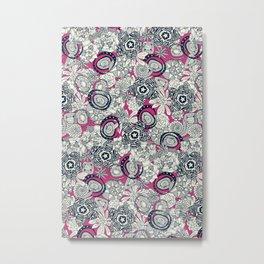 succulents pink indigo Metal Print