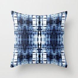 Blue Shibori Plaid Throw Pillow