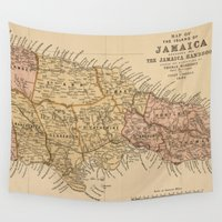 jamaica Wall Tapestries featuring Vintage Map of Jamaica (1893) by BravuraMedia