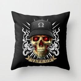 Vaping Skull - Vape On - Cloud Chaser - Vaper Throw Pillow