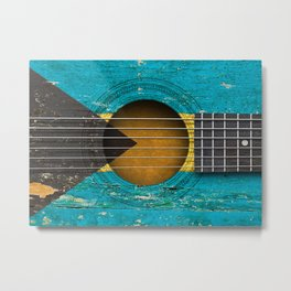 Old Vintage Acoustic Guitar with Bahamas Flag Metal Print
