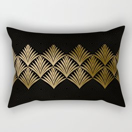 Reims, France: Luxueux Black and Gold Art Deco Rectangular Pillow