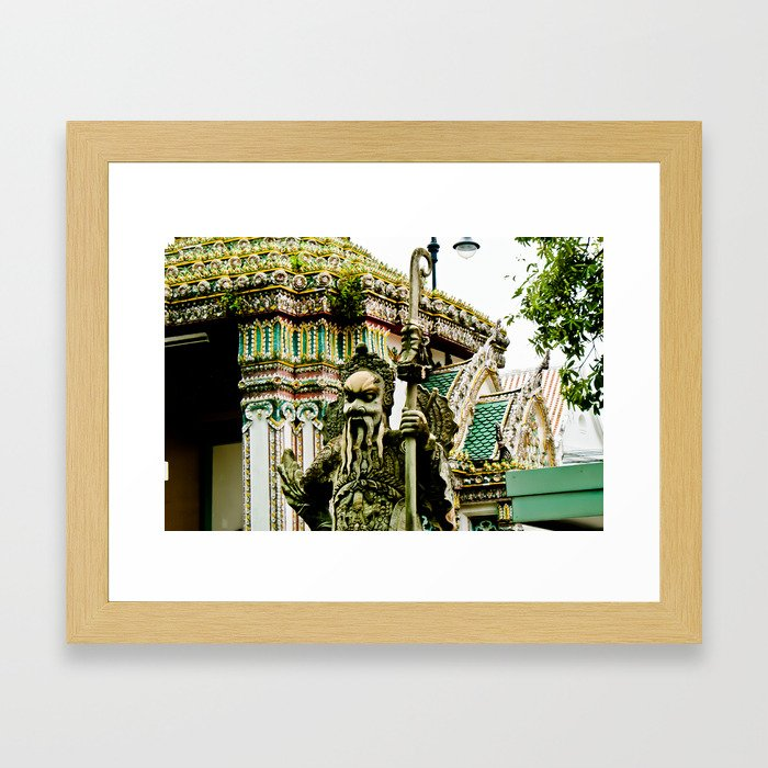 The Stone Guardians of Wat Pho, Bangkok, Thailand. Color Framed Art Print