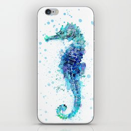 Blue Turquoise Watercolor Seahorse iPhone Skin