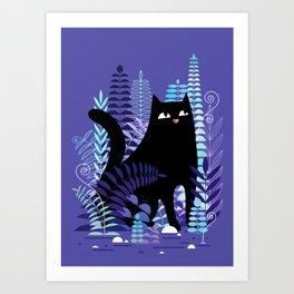 The Ferns (Black Cat Version) Art Print