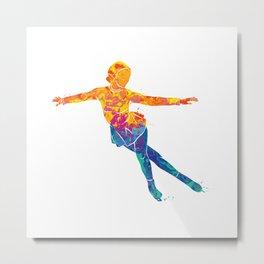 Watercolor Figure Skating Sports Metal Print