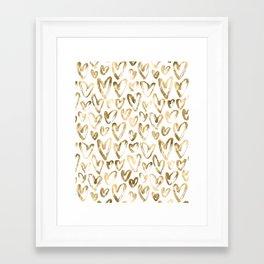Gold Love Hearts Pattern on White Framed Art Print