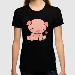 Cute Kawaii Pig With Heart T-shirt