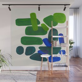 Minimalist Modern Mid Century Colorful Abstract Shapes Phthalo Blue Lime Green Gradient Overlapping Wall Mural