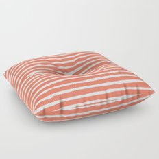 Thin Stripes White on Deep Coral Floor Pillow