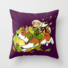 Corgi and Fairy Throw Pillow