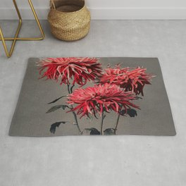 Red Flower Traditional Japanese Flora Rug