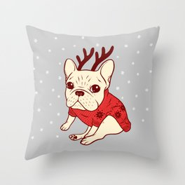 Cream Frenchie in Christmas Sweater Throw Pillow