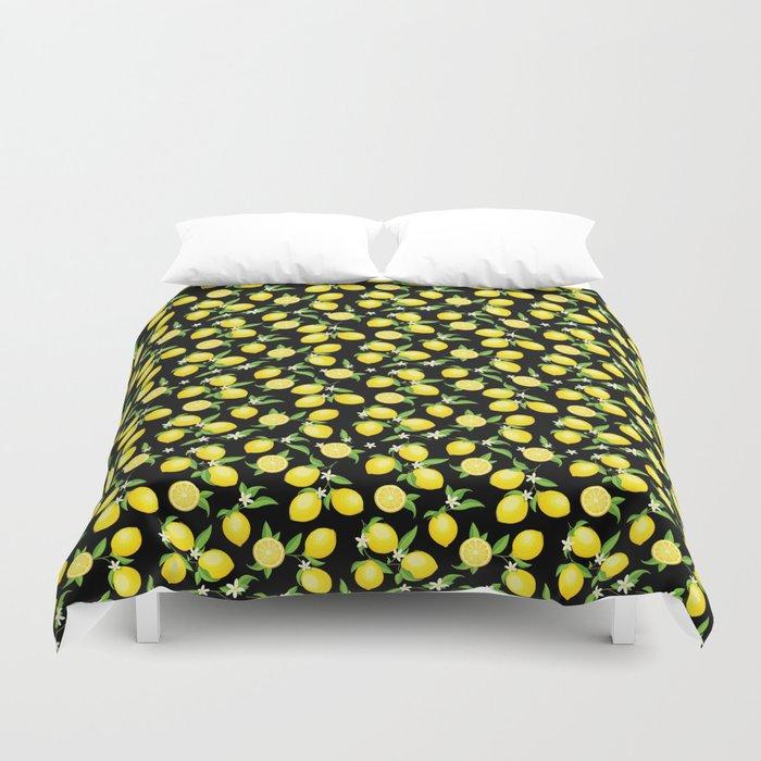 You're the Zest - Lemons on Black Duvet Cover