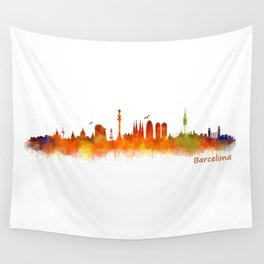 Barcelona City Skyline Hq _v2 Wall Tapestry