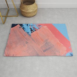 Reveal [4] a minimal abstract mixed-media piece in pinks and blue by Alyssa Hamilton Art Rug