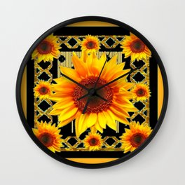 Italian Style Art Deco Golden Sunflower Art Wall Clock