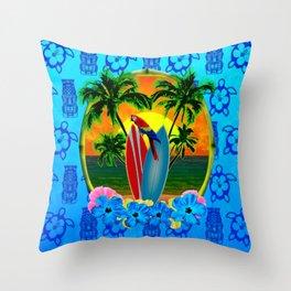 Blue Tiki Tropical Sunset Throw Pillow