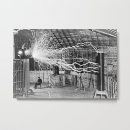 Nikola Tesla Vintage Photograph Double Exposure Electricity, 1889 Metal Print