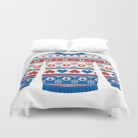 sweater Duvet Covers featuring Cozy sweater by Kite-Kit