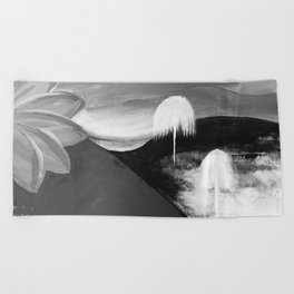 Abstract Flowers. Black and White. Flowers. Mountains. Landscape Beach Towel