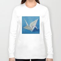 crane Long Sleeve T-shirts featuring Origami Crane by Michael Creese