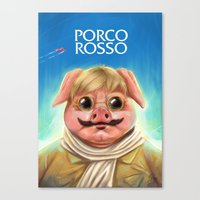 studio ghibli Canvas Prints featuring Studio Ghibli - Porco Rosso by Laurence Andrew Page Illustrator