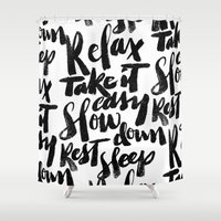 relax Shower Curtains featuring relax by Matthew Taylor Wilson