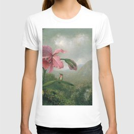 Orchid And Hummingbird Near A Mountain Waterfall 1902 By Martin Johnson Heade | Reproduction T-shirt
