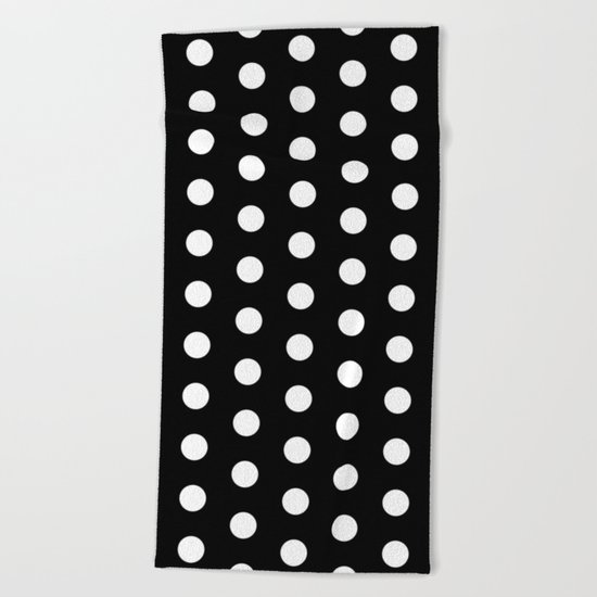 Black White Dots Beach Towel