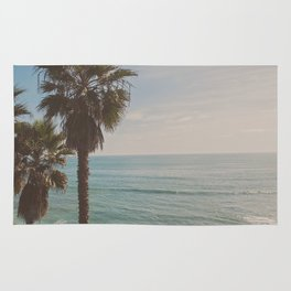 palm tree and ocean. California Vacation Rug
