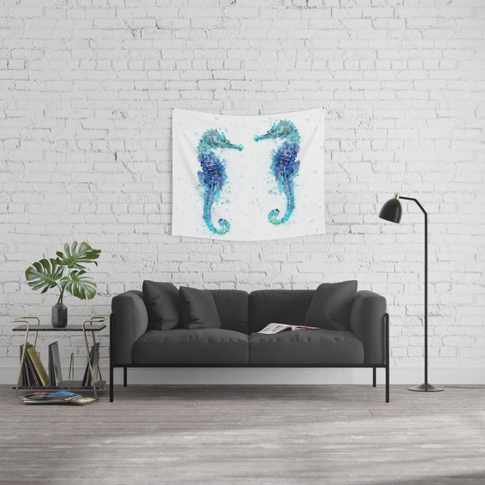 Blue Turquoise Watercolor Seahorse Wall Tapestry