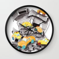 newspaper Wall Clocks featuring Newspaper Taxis by Jemma Banks