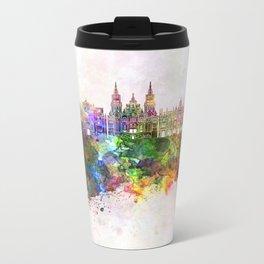 Santiago de Compostela skyline in watercolor background Metal Travel Mug
