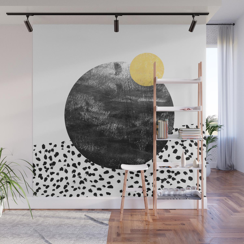 Attirant Abstract Painting Patterns Black And White Polka Dots Painterly Texture  Minimalist Art Wall Mural