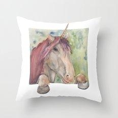 Happy Unicorn Throw Pillow