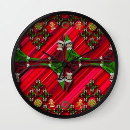 Christmas Tree Candy Cane Elf Wall Clock