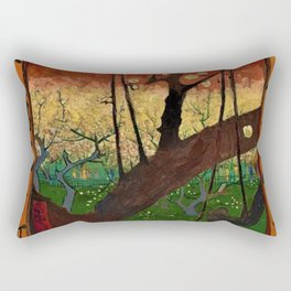 Flowering Plum Orchard (after Hiroshige) Japanese Motif by Vincent van Gogh Rectangular Pillow