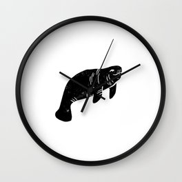 Manatee linocut black and white minimal nature art manatees Wall Clock