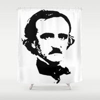 edgar allan poe Shower Curtains featuring edgar allan poe by b & c