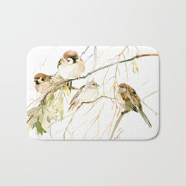 Sparrows on Tree Bath Mat