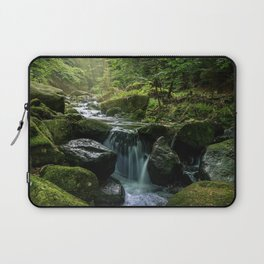 Flowing Creek, Green Mossy Rocks, Forest Nature Photography Laptop Sleeve