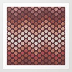 Dot Chevron: Earth tones  Art Print