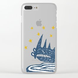rhinoceros stares into the stars Clear iPhone Case