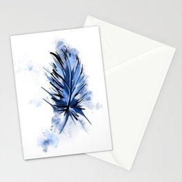 Blue Splashy Feather Stationery Cards