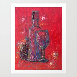Fun Colorful Modern Wine Art  Fun Colorful Modern Wine Art (wine bottle & glasses) by lena owens Art Print