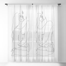 kissing Naked Sensual Lesbian one line art Sheer Curtain