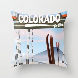 colorado to ski Throw Pillow
