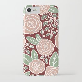 Pink roses Modern Floral iPhone Case